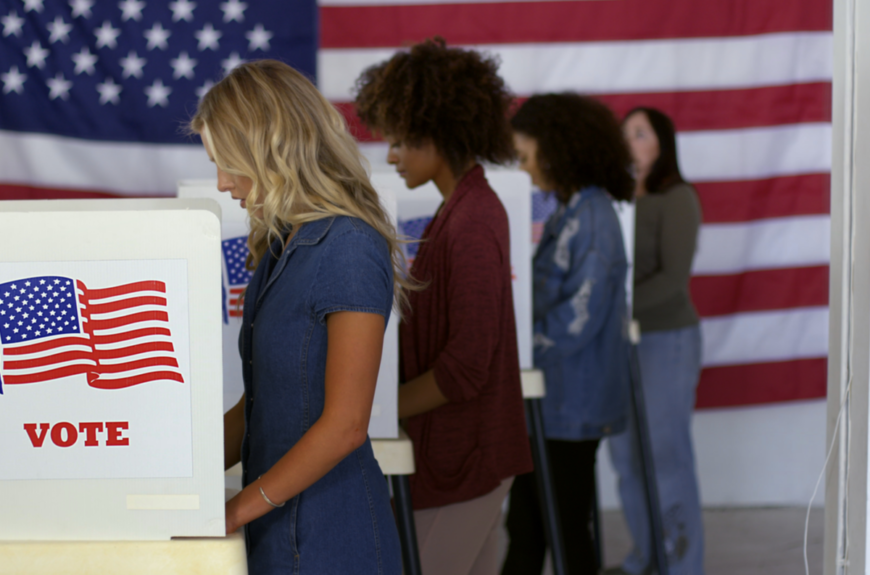 A group of women voting for California governor.